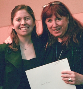 Erica Boulay accepts her Kate Herzog Writing Scholarship at Willamette Writers annual awards banquet.
